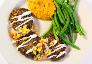 Black Bean Cakes with sour cream & corn relish