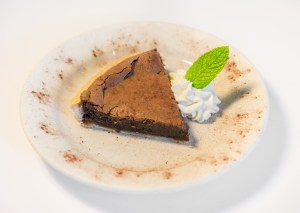 Chocolate Chess Pie with fresh whipped cream