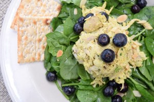 Curried Chicken Salad ver baby spinach tossed in Meyer lemon vinaigrette, topped with fresh blueberries and sliced almonds