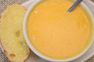 Golden Tomato Soup with cheddar cheese crouton