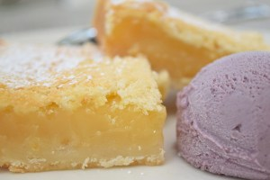 Meyer Lemon Bars with housemade blueberry ice cream