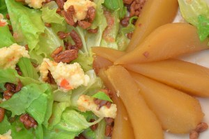 Backroads Bibb Salad with pimento cheese, poached pears, candied pecans and warm bacon vinaigrette