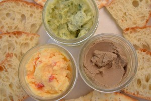 Spreadables, pimento cheese, chicken liver pâte and butterbean hummus with crackers and crostini