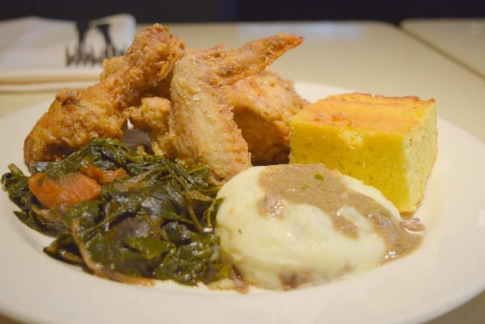 Get a hunk of Lucky's cornbread withour Sunday Skillet Fried Chicken!