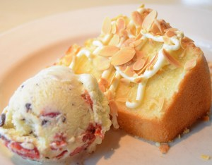 Almond Pound Cake with amaretto cream cheese icing and housemade chocolate-cherry ice cream
