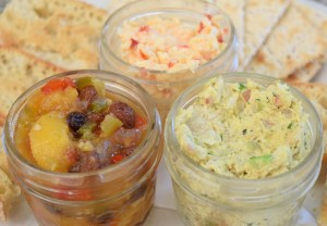 three selections in nifty jars with crackers and crostini