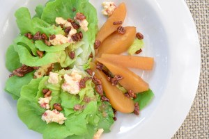 Backroads Bibb Salad with pimento cheese, poached pears, spiced pecans and warm bacon vinaigrette