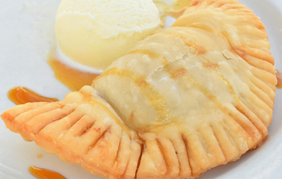 Sweet Potato Fried Pie with sorghum syrup and vanilla ice cream