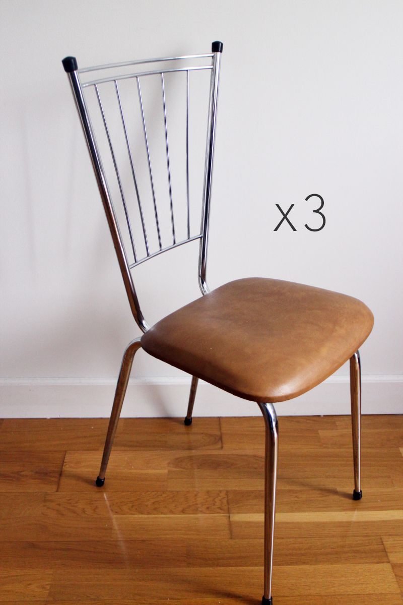 lot 3 chaises scandinave metal annees 70