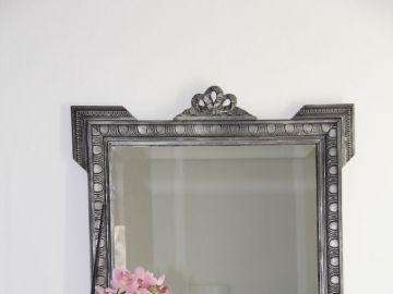 miroir ancien en bois sculpte patine noir et argent
