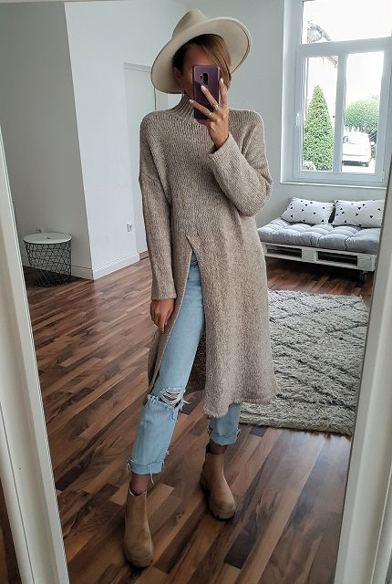langer Strickpulli MAXED OUT SLIT – versch. Farben