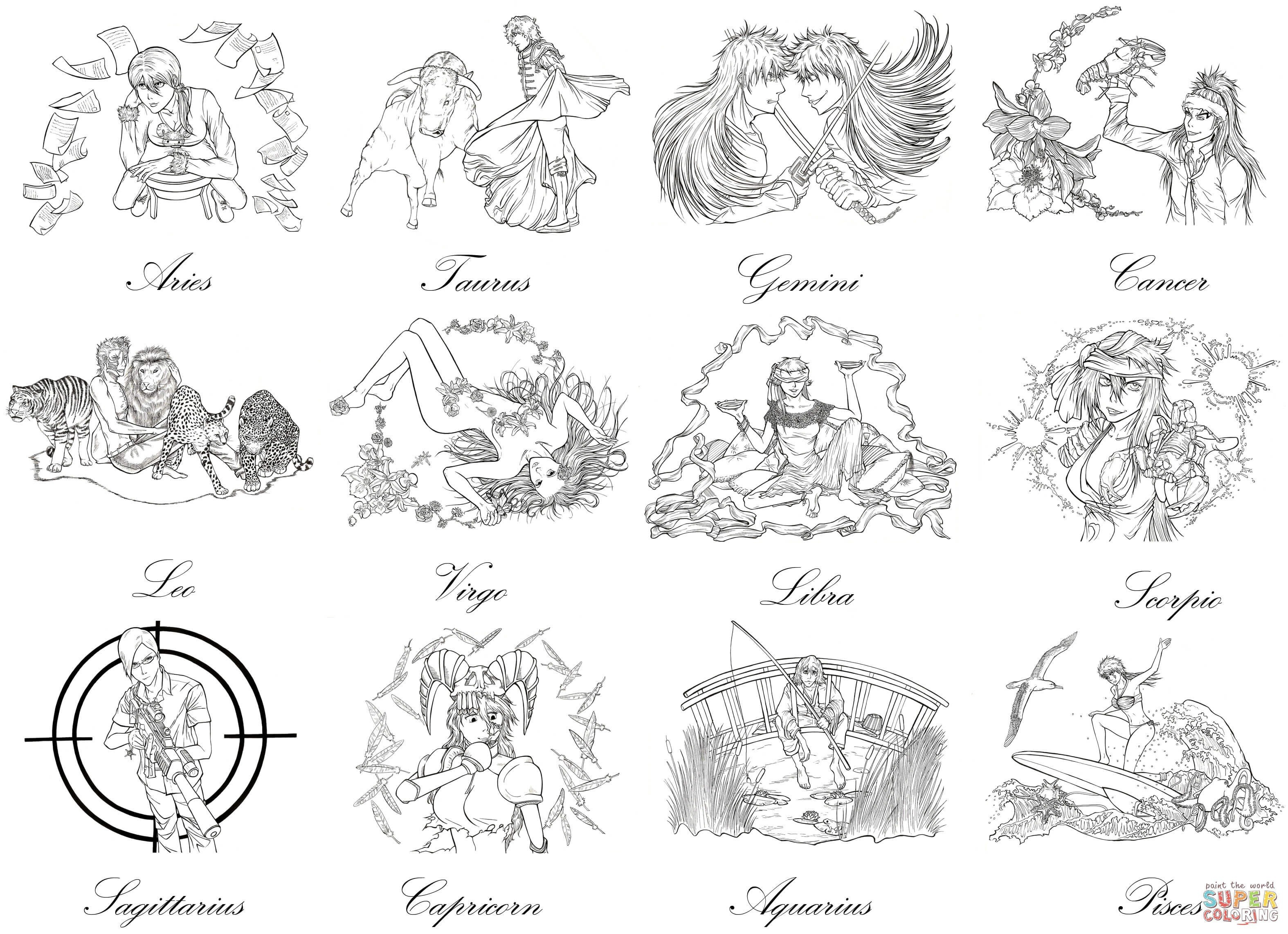 21 Zodiac Signs Coloring Pages Collection