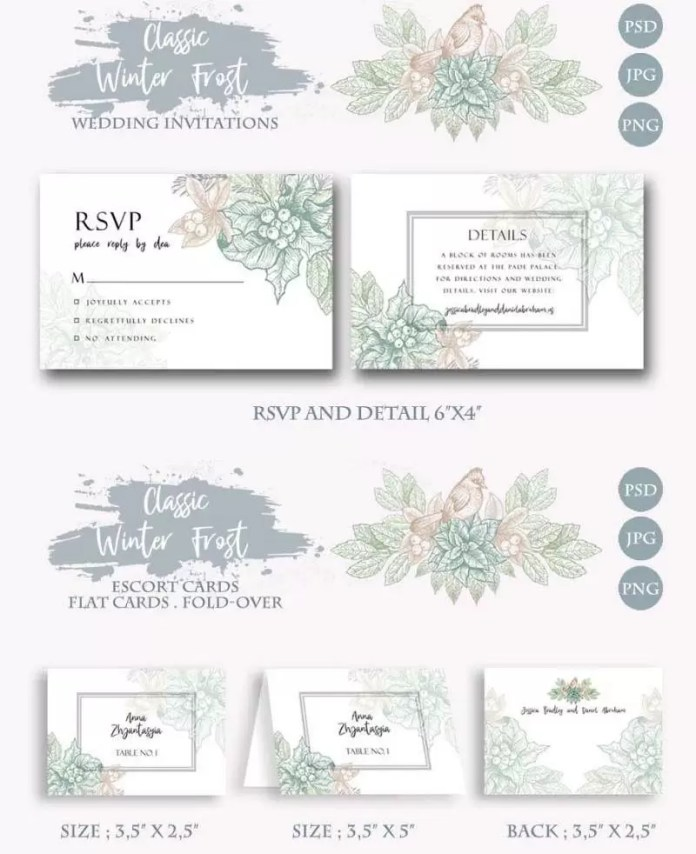 Classic Winter Wedding Invitations Card Templates