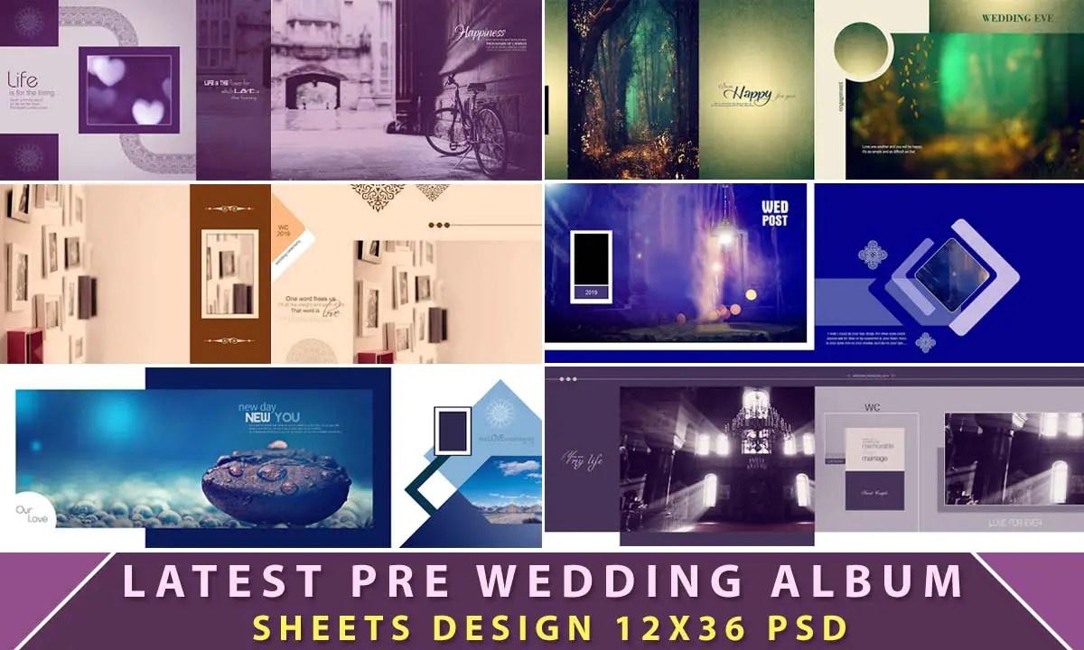 Latest Pre Wedding Album Sheets Design 12x36 Psd Luckystudio4u