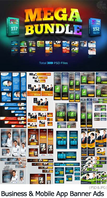 Mega Bundle of Banner Ads PSD-JPG For Business