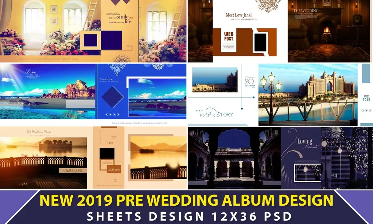 New 2019 Pre Wedding Album Design 12x36 Psd Sheets Luckystudio4u