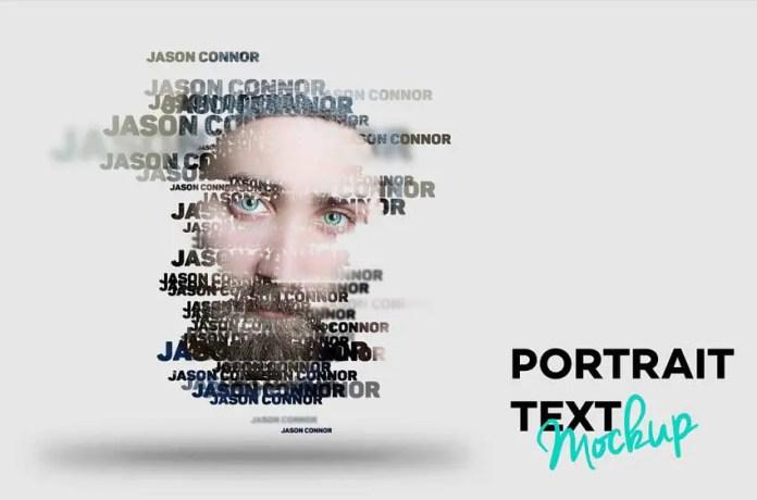 Text Portrait PSD Mockup