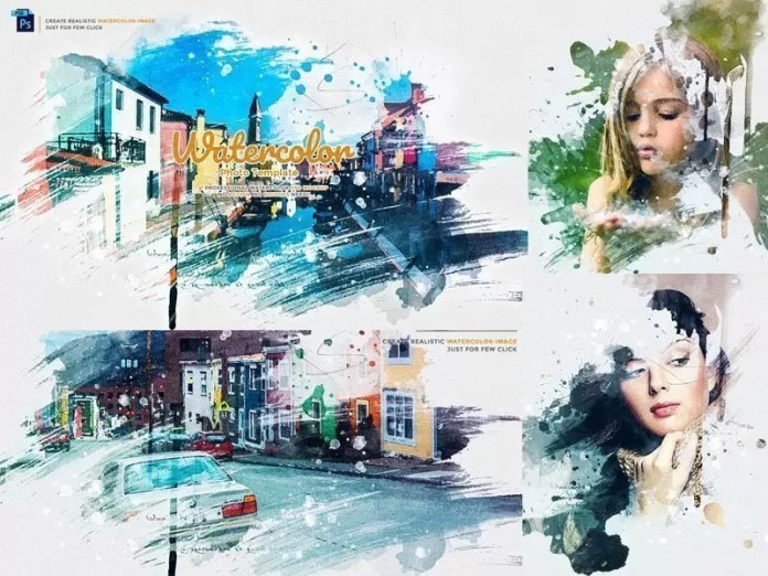 Watercolor Photo Template PSD