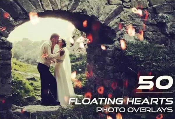 50 Floating Hearts Photo Overlays