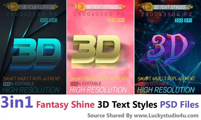 3in1 Fantasy Shine 3D Text Styles PSD Files