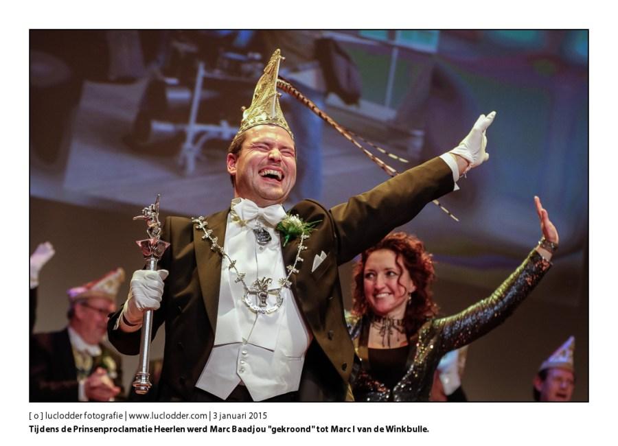 """Tijdens de Prinsenproclamatie Heerlen werd Marc Baadjou """"gekroond"""" tot Marc I van de Winkbulle."""