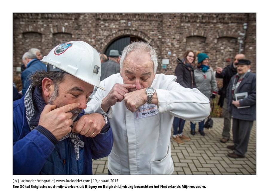 Een 30 tal Belgische oud-mijnwerkers uit Blégny en Belgisch Limburg bezochten op 19 januari het Nederlands Mijnmuseum in #?Heerlen in het kader van een uitwisselingsprogramma van Het Jaar van de Mijnen #?M2015.