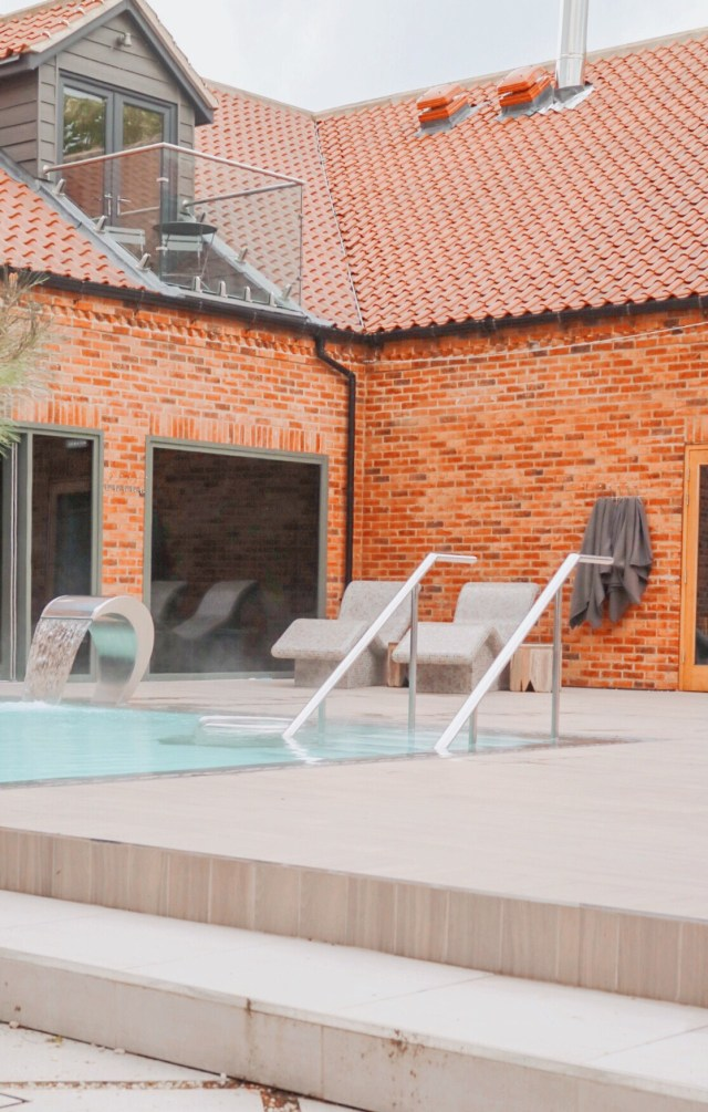 outside pool and heated beds at the inside of the pool at  ye olde bell spa