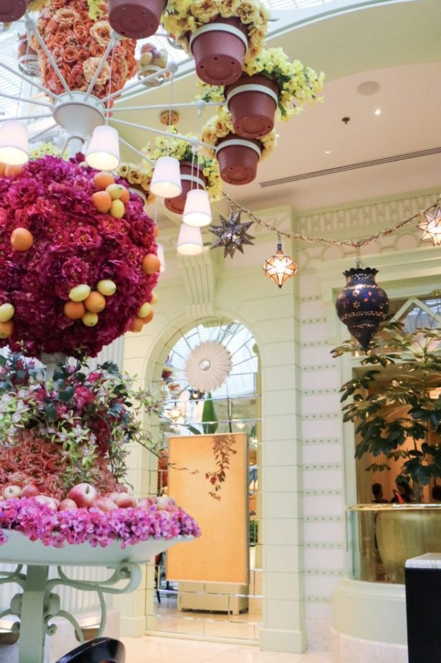 florals and doorways in the interior at the buffet at Wynn