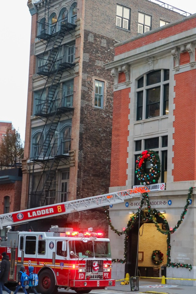 ladder 8 in new york decorating the firetruck for christmas
