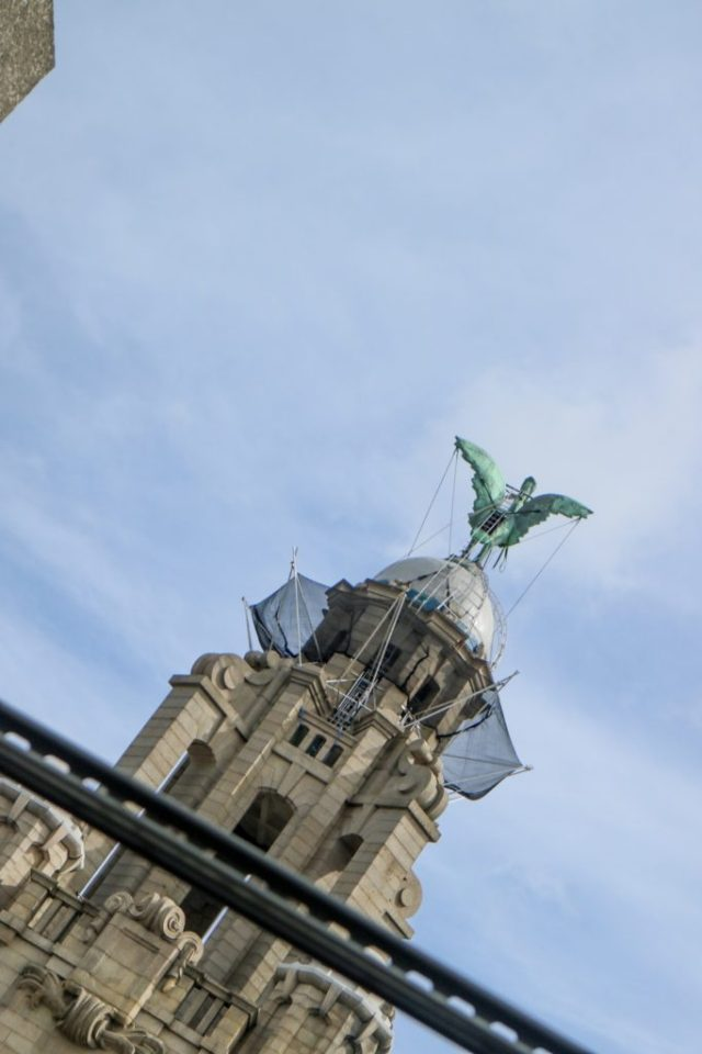 view of one of the liver birds in liverpool