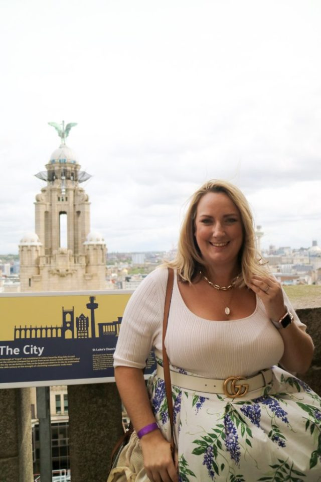 lucy at the top of the royal liver building