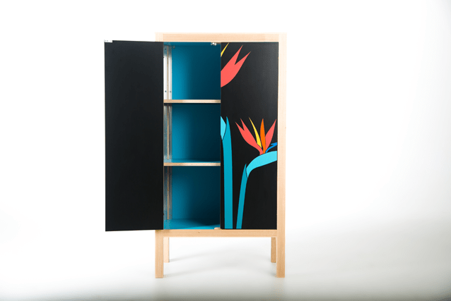 birds-of-paradise-cocktail-cabinet-bright-coloured-blue-interior-modern-marquetry-by-lucy-turner