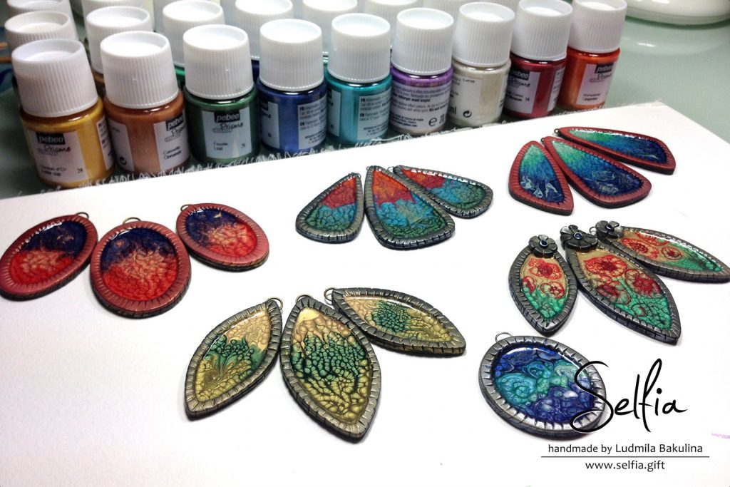 Bright blanks for jewelry made from polymer clay covered with Pebeo Prisme Fantasy paints (5 video) 2