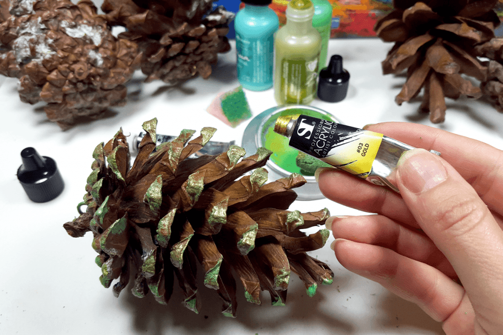 Creating New Year Tree Toys from natural pine cones 13