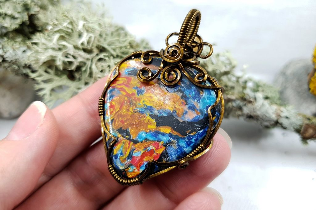 Free Tutorial: Wire Wrapped Faux Pietersite Stone cabochon 5