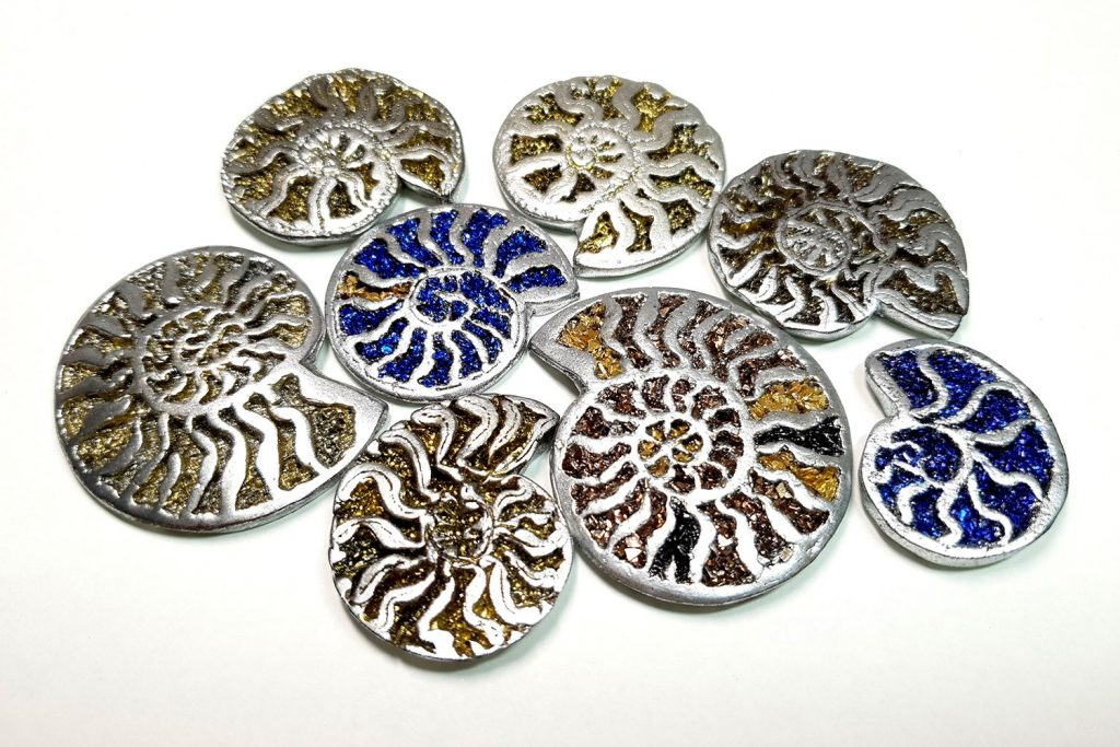 How to use Pyrite Ammonites silicone molds from polymer clay 9