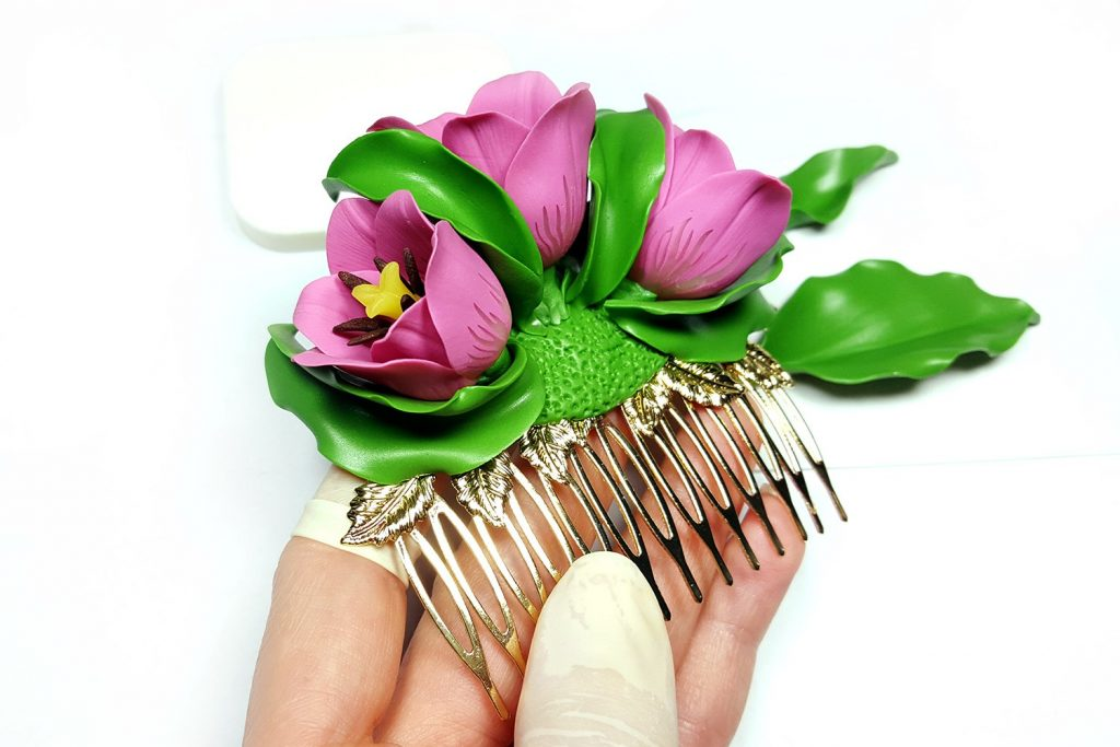 Hair Comb With Realistic Tulips Flowers from Polymer Clay 92