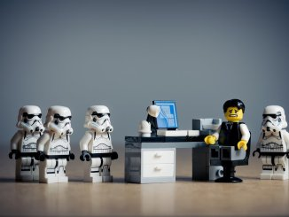 Lego office with stormtroopers