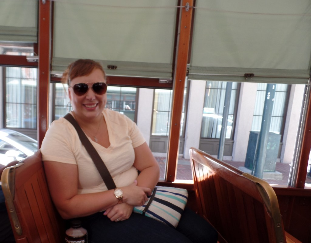 Riding the streetcars.
