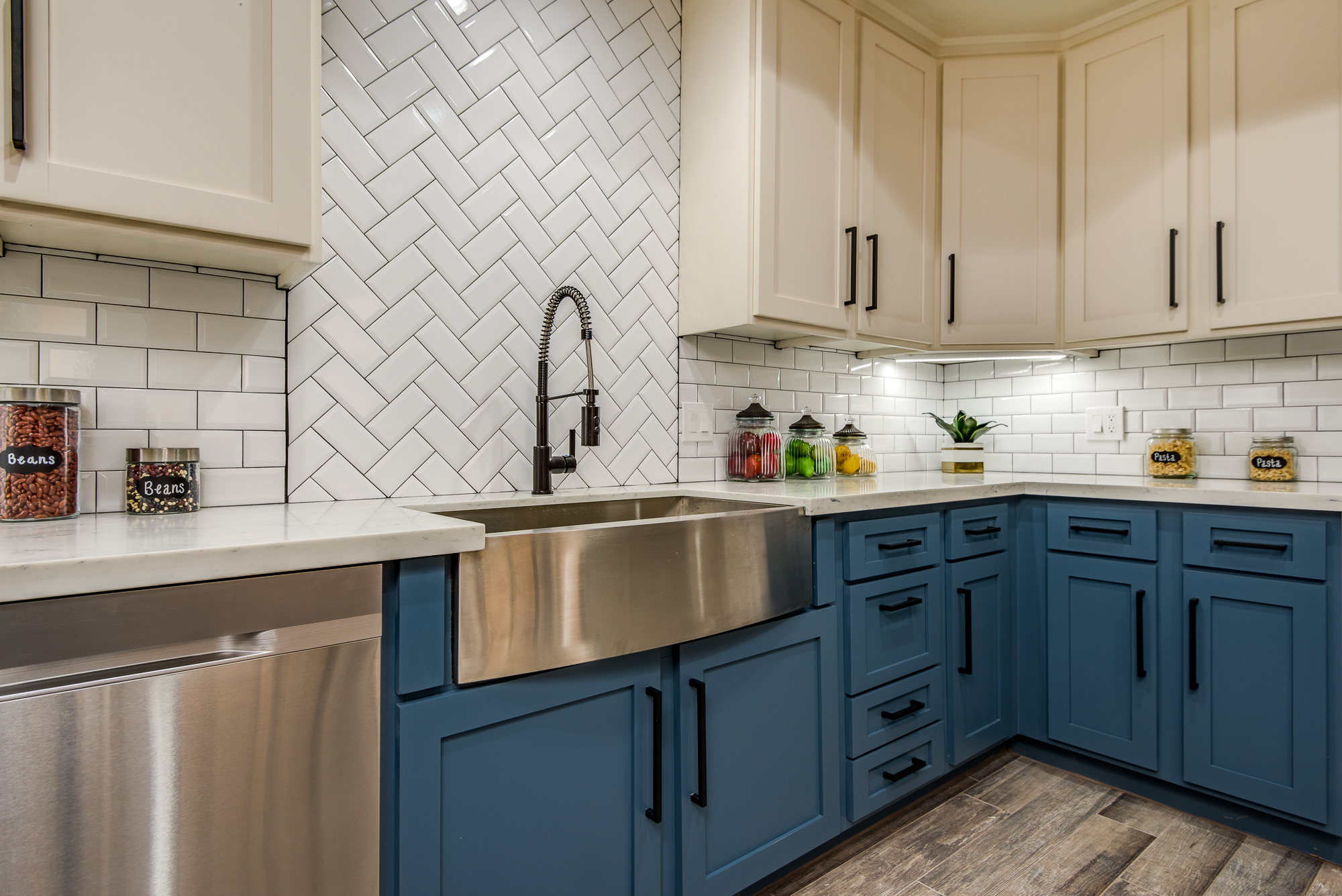 Blue Kitchen Cabinets and Subway Tile, White Kitchen No. 4 | Lugo & Co. in Phoenix, AZ
