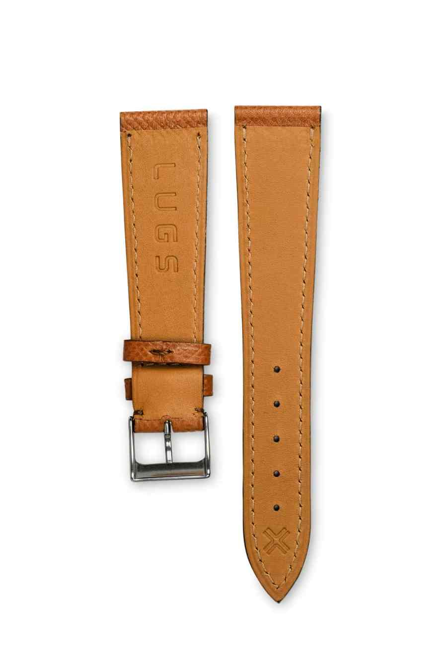 Grained light brown tan leather watch strap - tone on tone stitching - LUGS brand