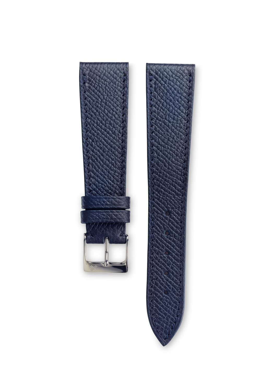 Grained Navy blue leather watch strap - tone on tone stitching - LUGS brand
