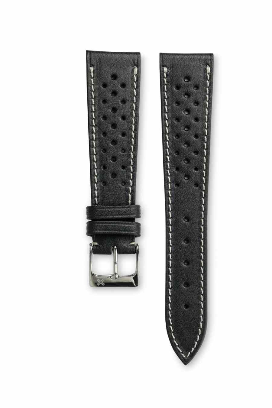 Smooth Racing Barenia deep black leather watch strap - cream stitching - LUGS brand