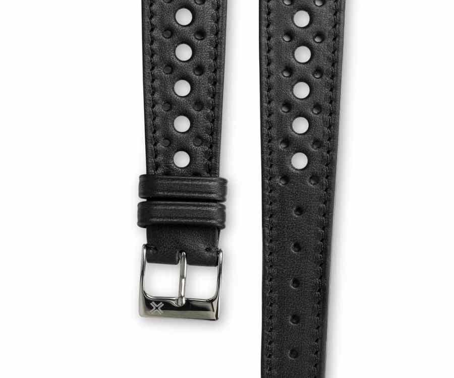 Smooth Rally Barenia deep black leather watch strap - tone on tone stitching - LUGS brand