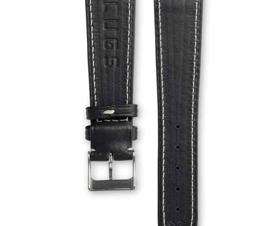 Smooth Classic Barenia deep black leather watch strap - cream stitching - LUGS brand