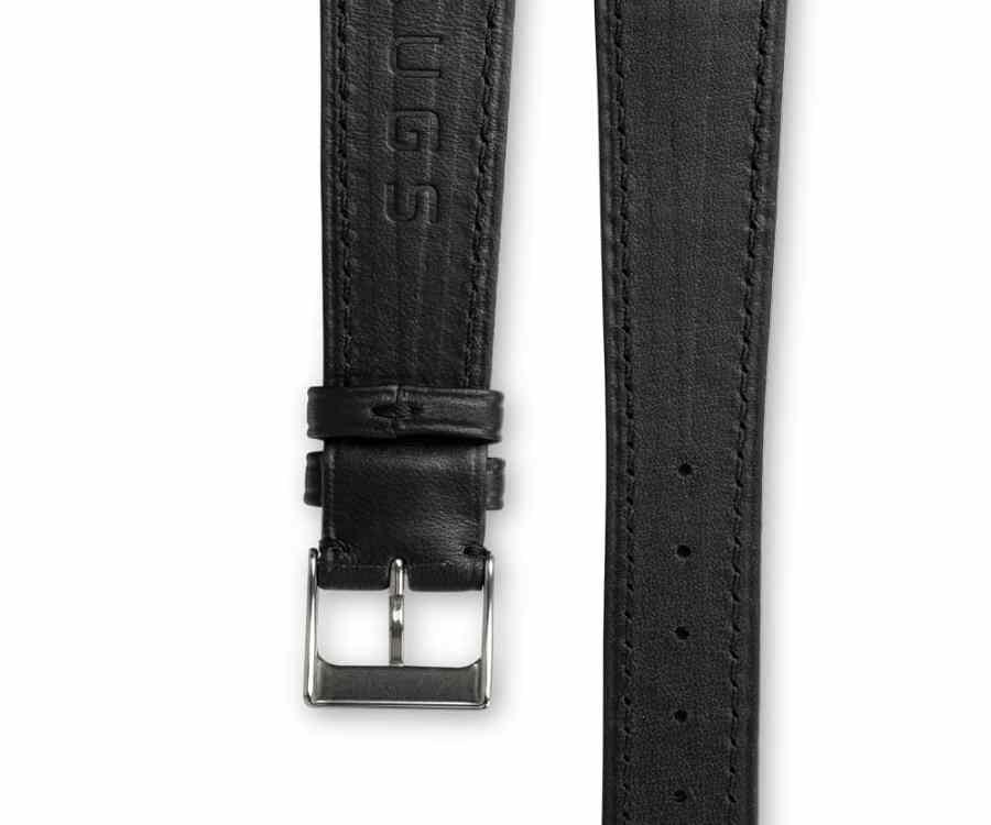 Smooth Classic Barenia deep black leather watch strap - tone on tone stitching - LUGS brand