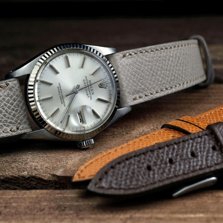 Rolex Datejust vintage oysterdate on a grained calf leather LUGS watch strap