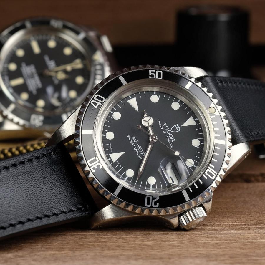 Tudor submariner on a smooth Barenia deep black LUGS watch strap