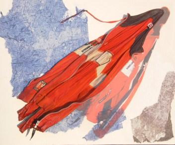 """arch.n. 872 """"giarancio"""" giacca tuta bimbo resinatoa + riproduzione fotografica su tela applicata a tavola cm 66 x80 – anno 2009"""