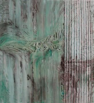 arch.n. 652 Contaminazione 137 Affresco su tavola + fili in cotone – cm 100x110, anno 2003